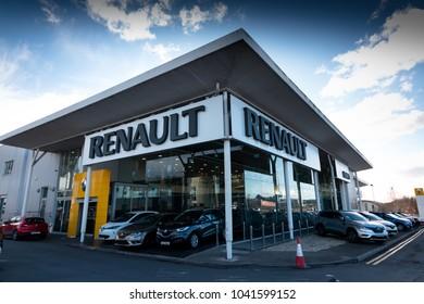 March 8th, 2018, Cork, Ireland - Kearys Renault car dealership: showroom as seen from the street.