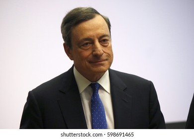 MARCH 9, 2017 - FRANKFURT AM MAIN: ECB Preisdent Mario Draghi at a press conference at the ECB headquarters in Frankfurt am Main.