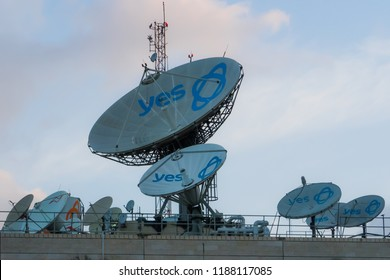 March 9, 2018 - Kfar Saba, Israel. Satellite dishes on the roof of YES cable and satellite television company.