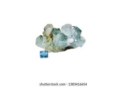 march birthstone, beryl aquamarine, isolated on white background
