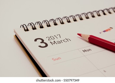 the March calendar in 2017 with red pen