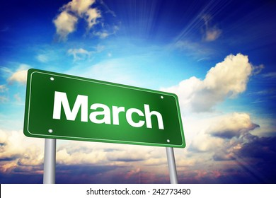March Green Road Sign, Months of the Year concept