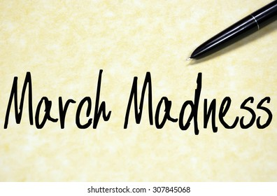 march madness text write on paper