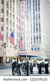March For Our Lives: NYPD officers on bicycles wait in front of Radio City Music Hall for the start of the march to end gun violence on 6th Ave, NEW YORK MAR 24 2018.