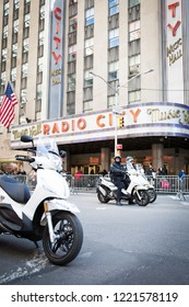 March For Our Lives: NYPD officers on motorcycles wait in front of Radio City Music Hall just before the march to end gun violence on 6th Ave, NEW YORK MAR 24 2018.