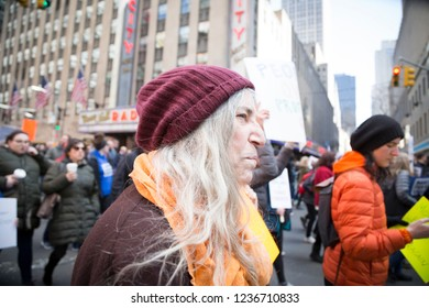 March For Our Lives: Patti Smith, artist and writer, participates in the march on 6th Ave to end gun violence, NEW YORK MAR 24 2018.