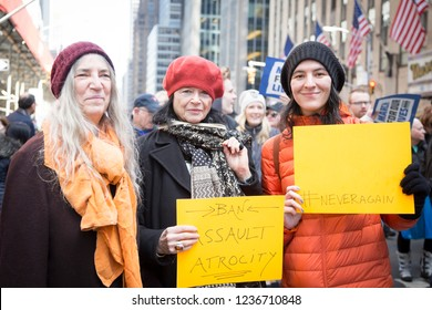March For Our Lives: Patti Smith, Anne Waldman, artists and writers, and Jesse Paris Smith, musician and co-founder of Pathway to Paris, walk in the march to end gun violence, NEW YORK MAR 24 2018.
