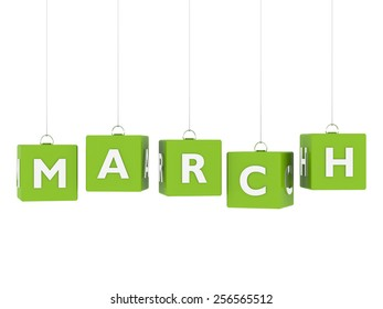 March tag on green hanging cubes