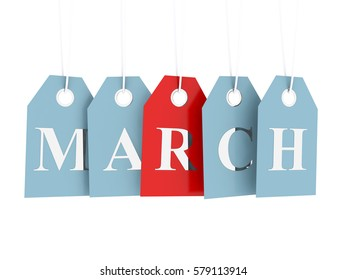 March tag on hanging labels isolated on white background 3D render