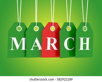 March tag on hanging labels on green background 3D render