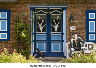 PREEROW,DARÃ?, MARCH,18,2016:Traditionally painted door of a captain's house, Prerow, Dar Fischland-Zingst, Baltic Sea, Mecklenburg-Western Pomerania, Germany, Europe