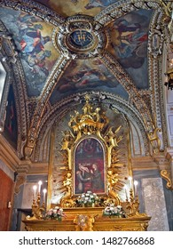 MARCHE, FABRIANO – SEPTEMBER 21, 2006:  Madonna in adoration of the Child in Santa Maria del Buon Gesù  church. Drawed by Maestro di Staffolo in 1456.
