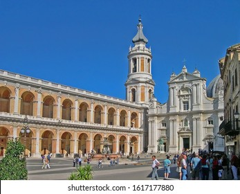 MARCHE, LORETO – SEPTEMBER 24, 2006: view of the Santa Casa basilica (Holy House) in Madonna square. The basilica is an important and visited Marian shrines of the Catholic world.