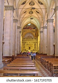 MARCHE, LORETO – SEPTEMBER 24, 2006: Santa Casa basilica (Holy House) ancient interiors. The basilica is among the most important and visited Marian shrines of the Catholic world.