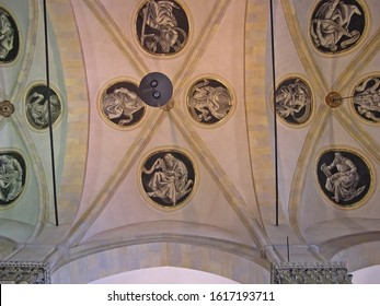 MARCHE, LORETO – SEPTEMBER 24, 2006:  Santa Casa basilica (Holy House) ceiling decoration. The basilica is among the most important and visited Marian shrines of the Catholic world.