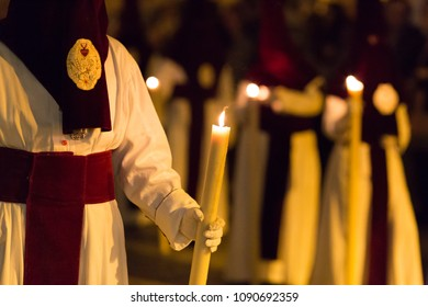 Marchena, SEVILLE, SPAIN - March 28, 2018: Procession of Holy Week('Semana Santa') in Marchena, SEVILLE. Holy Wednesday afternoon. Procession of the Brotherhood of Humility