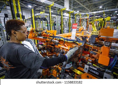 Marcie McKinney makes parts in the body shop at GM's Silverado and Sierra pickup truck plant in Fort Wayne, Indiana, U.S., July 25, 2018.
