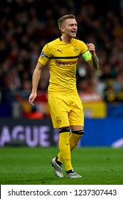 Marco Reus of Borussia Dortmund during the match between Atletico Madrid and Borussia Dortmund at Wanda Metropolitano Stadium, Madrid on Nov. 6 of 2018.