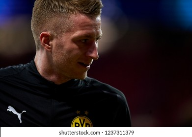 Marco Reus of Borussia Dortmund during the match between Atletico Madrid and Borussia Dortmund at Wanda Metropolitano Stadium, Madrid on Nov. 06 of 2018.