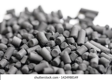 Marco, shallow focus of carbon granules showing microscopic holes within the granules. Used as a purifier and antioxidant in both marine, pharmaceutical  and industrial processes.