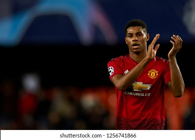 Marcus Rashford of Manchester United during the match between Valencia CF and Manchester United at Mestalla Stadium in Valencia, Spain on December 12, 2018.