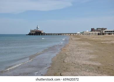 Mardakan (Baku District), Azerbaijan - May 09, 2017. Caspian Sea beach