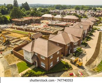 Marden, Kent, UK- May 2017: Redrow Homes development 'The Parsonage' Aerial progress photography