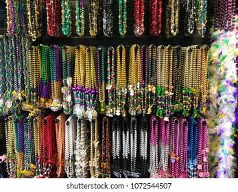 Mardi Gras beads in New Orleans Louisiana.