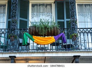 Mardi Gras Flag On Balcony in French quarter