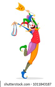 Mardi Gras jester in a mask holding necklaces for poster, greeting card, party invitation, banner or flyer on white background. Cheerful cartoon character. Raster Illustration.