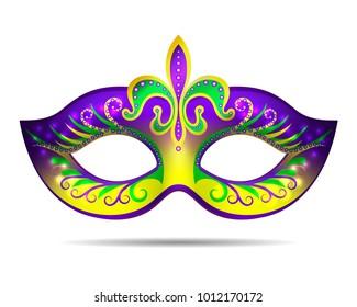 Mardi Gras mask isolated on white.  illustration
