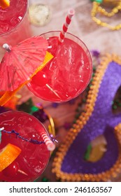 Mardi Gras: Overhead View Of Hurricane Cocktail And Mask