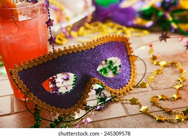 Mardi Gras: Party Mask With Festive Decorations And Trinkets