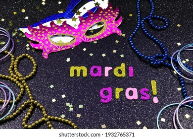 Mardi Gras Party Masks With Jewelry And Confetti