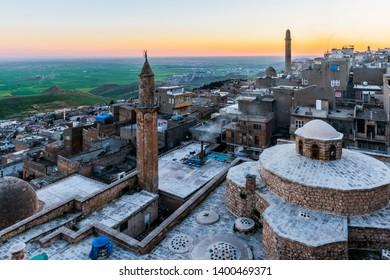 Mardin City in Turkey. Ulu Mosque and old town sunset view. Mardin is a historical city in Southeastern Anatolia, Turkey. Mardin, the shining city of Mesopotamia.