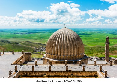 Mardin City in Turkey. Zinciriye Madrasah with Mardin old town and Mesopotamia view.