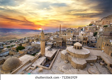 Mardin landscape beautiful sunset with clouds Turkey. With minarets is best touristic destination of Mardin.