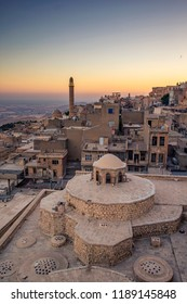 Mardin landscape beautiful sunset With minarets is best touristic destination of Mardin. High resolution landscape view of old Mardin city for locals and tourist and located in southeastern of Turkey.