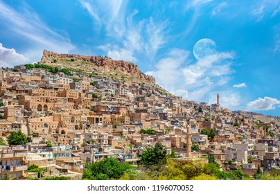 Mardin old town with bright cloudy sky - Mardin, Turkey