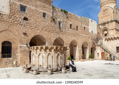 Mardin / Turkey - 05/05/2019: Great Mosque (Ulu Mosque) in Mardin, Turkey. People visit the mosque for sightseeing or worship.