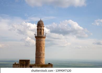 Mardin / Turkey - 05/05/2019: Panoramic view of Mardin and Great Mosque (Ulu Camii), Mardin, Turkey.