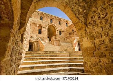 MARDIN, TURKEY - APRIL 10, 2014: Syrian Orthodox Monastery of Deyrulzafaran known also as Syriac Monastery of the Saffron, in Mardin, Turkey.