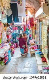MARDIN, TURKEY - APRIL 18, 2018: Grand bazaar Mardin, considered to be the old shopping mall. Bazaar is populer tourist attraction and shopping center in Mardin