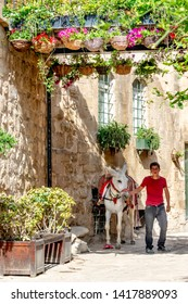 Mardin, Turkey, April 20, 2018: Mardin is an old city. Historic stone buildings, the city's streets are one of the best attractions in Mardin. (Trash Hunter donkey with young children) from different