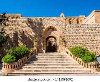 MARDIN, TURKEY - APRIL 25, 2019: Deyrulzafaran Monastery in Mardin, Turkey. The monastery at Deyrulzafaran near Mardin still active today.