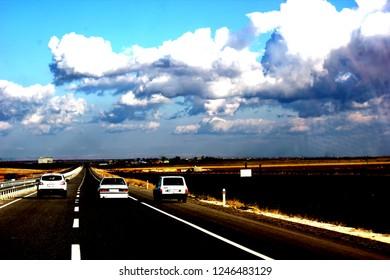 Mardin, Turkey - January 28, 2012: Beautiful landscape on the way to Midyat. Road of Midyat.