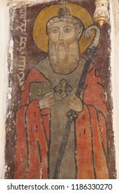 MARDIN, TURKEY - JUN 10, 2014 - Portrait of a patron saint in the  Deyrulzafaran Monastery in  near Mardin, Turkey