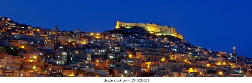 MARDIN, TURKEY- May, 01,2013: Antique City Mardin night lights give the city a nice atmosphere.