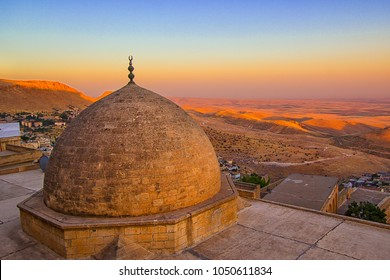 Mardin Turkey religious city landscape beautiful sunset with dome and minarets is best touristic destination old city of Mardin