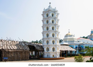 Mardol, Goa, India - April 12, 2015: Deep Jyoti Stambh or Deepa Stambha is a unique piece of Hindu architectural structure, Shri Mangesh temple.